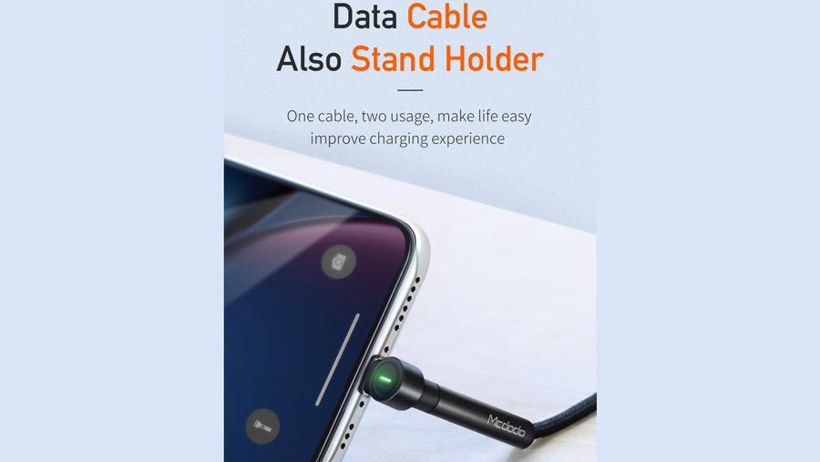 کابل شارژ و انتقال داده لایتنینگ با قابلیت استند مک دودو MCDODO Lightning Bracket Series 1.2M CA-667 دارای قابلیت استفاده بعنوان استند
