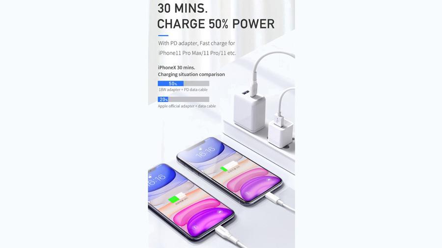 کابل شارژ سریع و انتقال داده تایپ سی به لایتنینگ مک دودو MCDODO PD Type-C to Lightning 0.2M CA-729 باقابلیت شارژ سریع آیفون ها