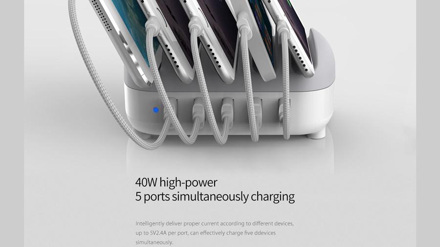 داک شارژ هوشمند 5 پورت اوریکو Orico DUC-5P 5 Ports USB Smart Charging Station دارای توان شارژ 40 واتی