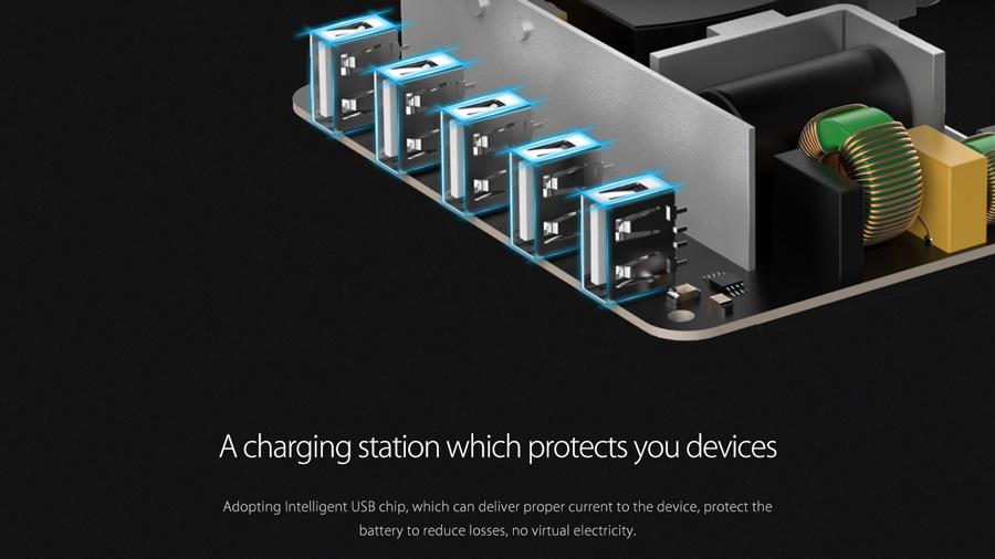داک شارژ هوشمند 5 پورت اوریکو Orico DUC-5P 5 Ports USB Smart Charging Station دارای قابلیت شارژ تطبیقی