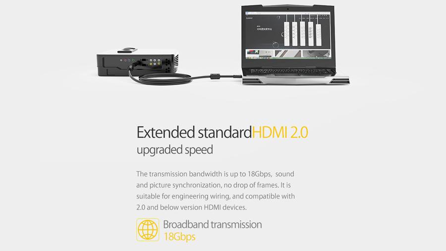 کابل اچ دی ام آی نسخه 2.0 اوریکو Orico HD403 8M دارای پهنای باند 18گیگابیتی
