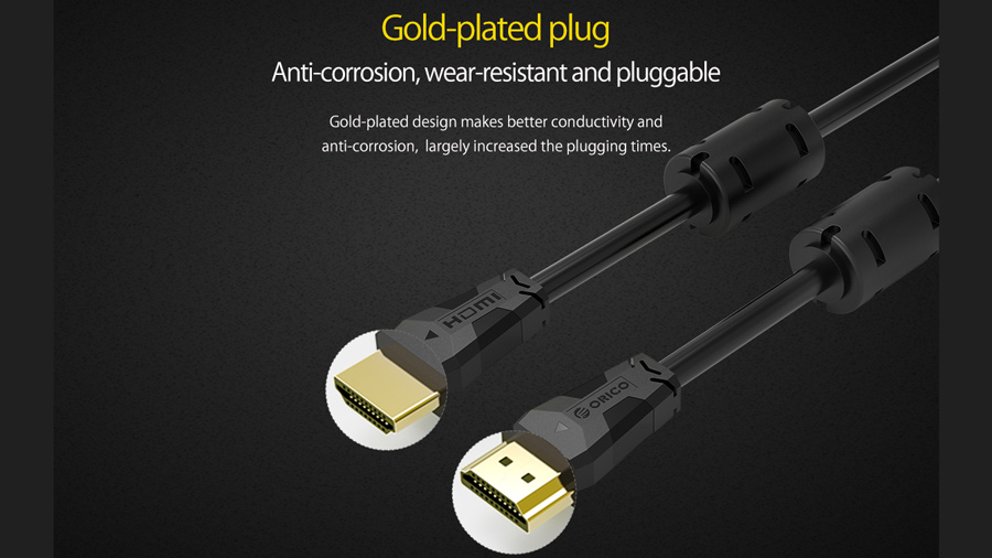 کابل اچ دی ام آی نسخه 2.0 اوریکو Orico HD403 8M دارای کانکتورهایی با روکش طلا
