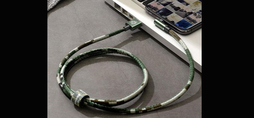 کابل چریکی لایتنینگ بیسوس Baseus Camouflage Lightning Cable 1M  دارای قابلیت انتقال داده