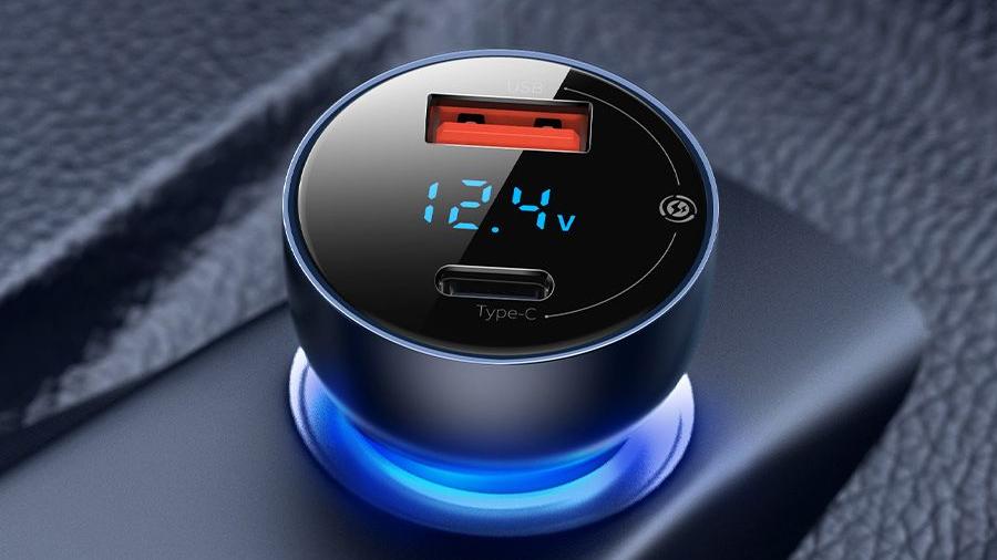 شارژر فندکی سریع با خروجی یو اس بی و تایپ سی بیسوس Baseus Car Charger USB/Type-C 65W  دارای قابلیت شارژ سریع