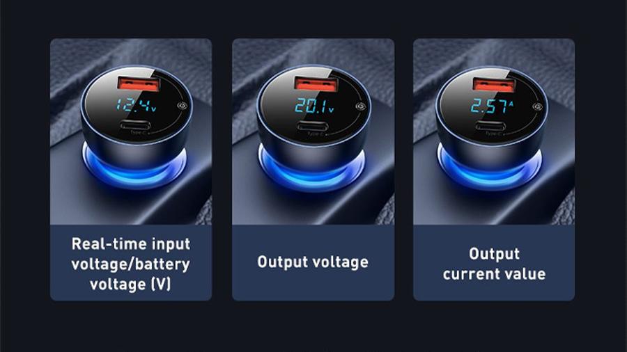 شارژر فندکی سریع با خروجی یو اس بی و تایپ سی بیسوس Baseus Car Charger USB/Type-C 65W  دارای نمایشگر دیجیتالی