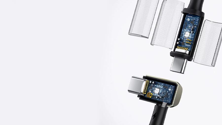 کابل شارژ سریع و انتقال داده تایپ سی به تایپ سی بیسوس Baseus Hammer Cable Type-c PD 1.5M دارای تراشه کنترل هوشمند