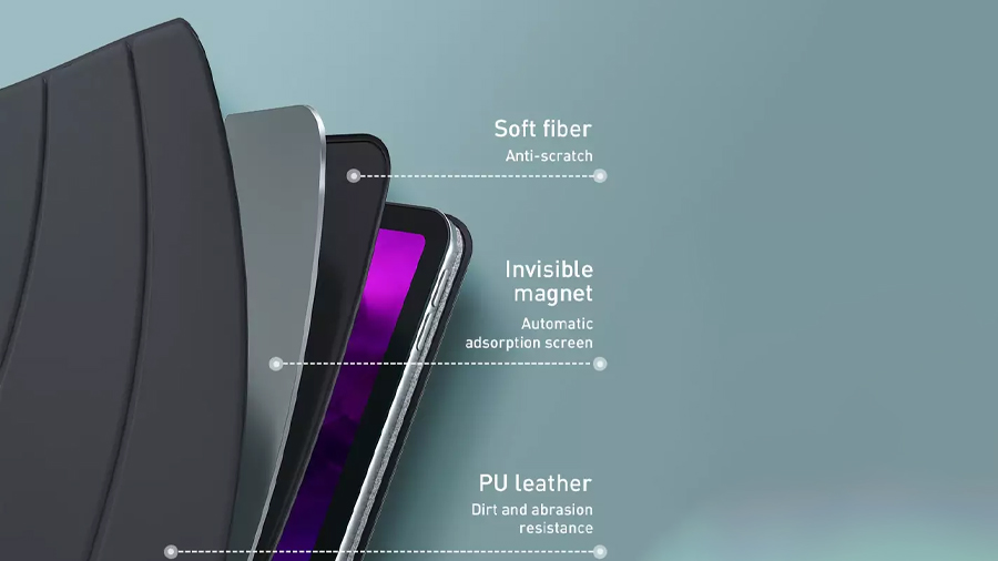 کاور چرمی آیپد پرو 11 اینچ مغناطیسی بیسوس Baseus Magnetic Leather Case for iPad pro (2020) دارای چرم پلی یورتان