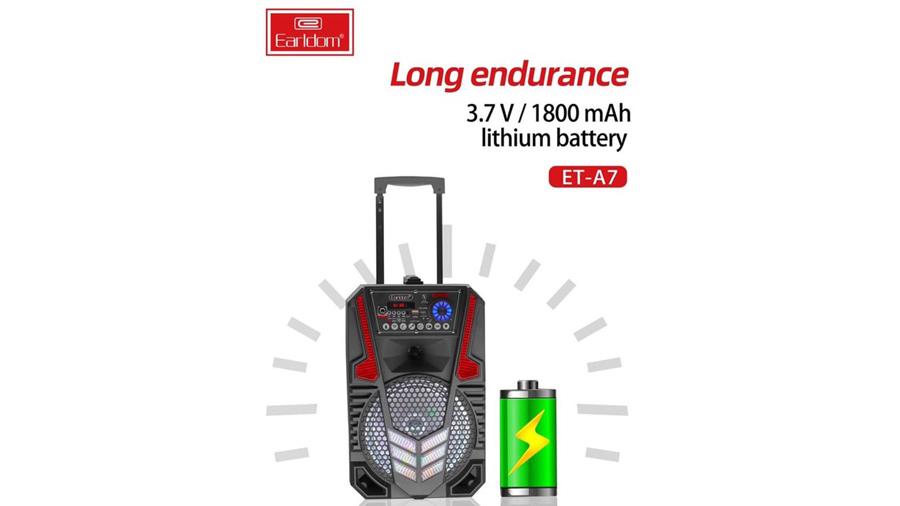اسپیکر بلوتوث قابل حمل همراه با میکروفون ارلدام مدل Earldom ET-A7 Portable Speaker With 1 Mic دارای باتری 1800 میلی آمپری