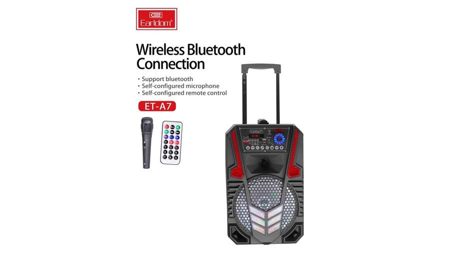 اسپیکر بلوتوث قابل حمل همراه با میکروفون ارلدام مدل Earldom ET-A7 Portable Speaker With 1 Mic دارای قابلیت اتصال از طریق بلوتوث