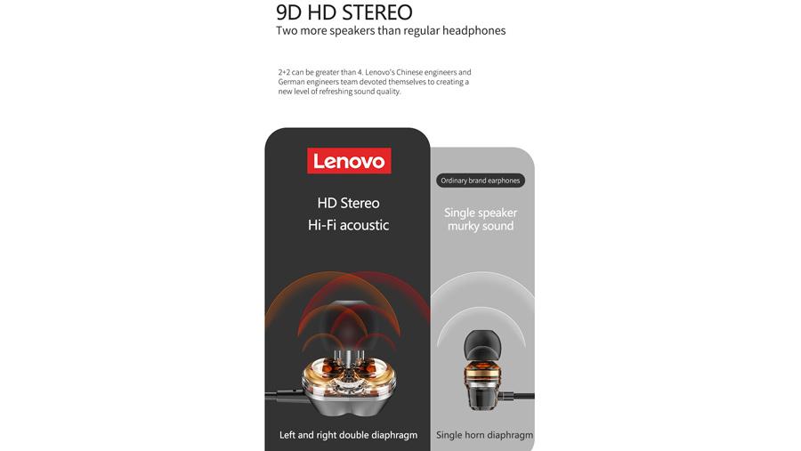 هندزفری بیسیم دورگردنی لنوو Lenovo HE08 Bluetooth Neckband In Ear Earbuds دارای صدای فراگیر