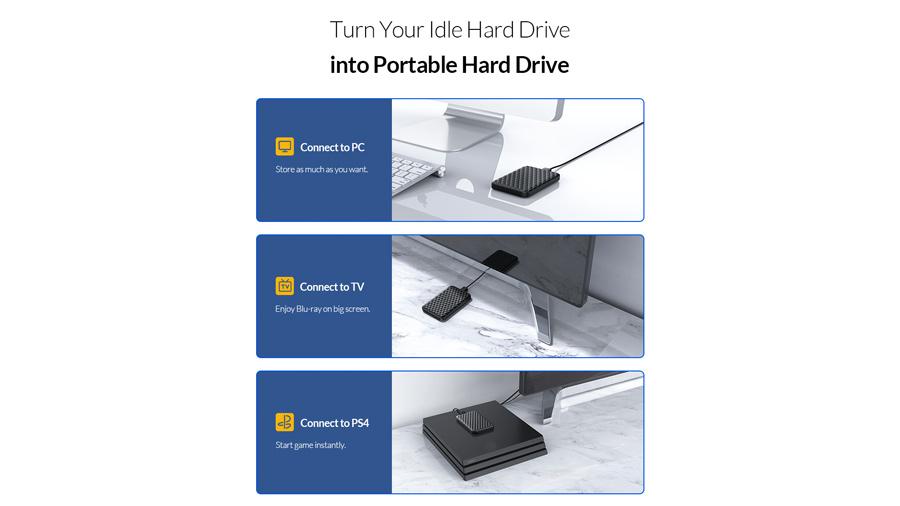 باکس هارد درایو 2.5 اینچی اوریکو Orico 2520U3 قابلیت استفاده در دستگاه های متفاوت