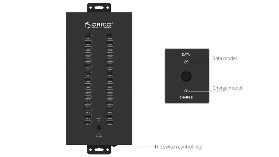 هاب صنعتی 30 پورت یو اس بی 2.0 اوریکو Orico IH30P 30Port USB 2.0 Hub دارای سوئیچ تنظیم حالت