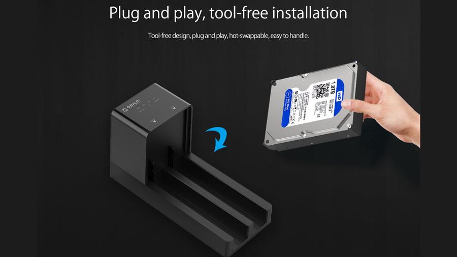 قاب هارد درایو 2.5/3.5 اینچی با قابلیت تکثیر اوریکو Orico 6528US3-C Hard Drive Enclosure with Duplicator بدون نیاز به درایور