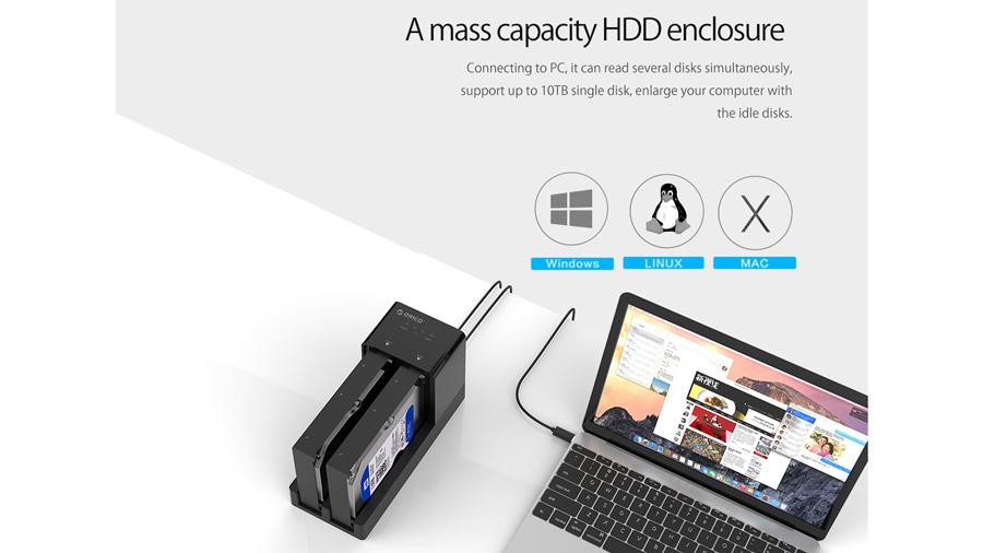 قاب هارد درایو 2.5/3.5 اینچی با قابلیت تکثیر اوریکو Orico 6528US3-C Hard Drive Enclosure with Duplicator پشتیبانی از ظرفیت بالای هارد
