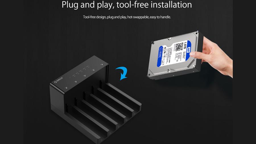 قاب هارد درایو 2.5/3.5 اینچی با قابلیت تکثیر اوریکو Orico 6558US3-C Hard Drive Enclosure with Duplicator بدون نیاز به درایور