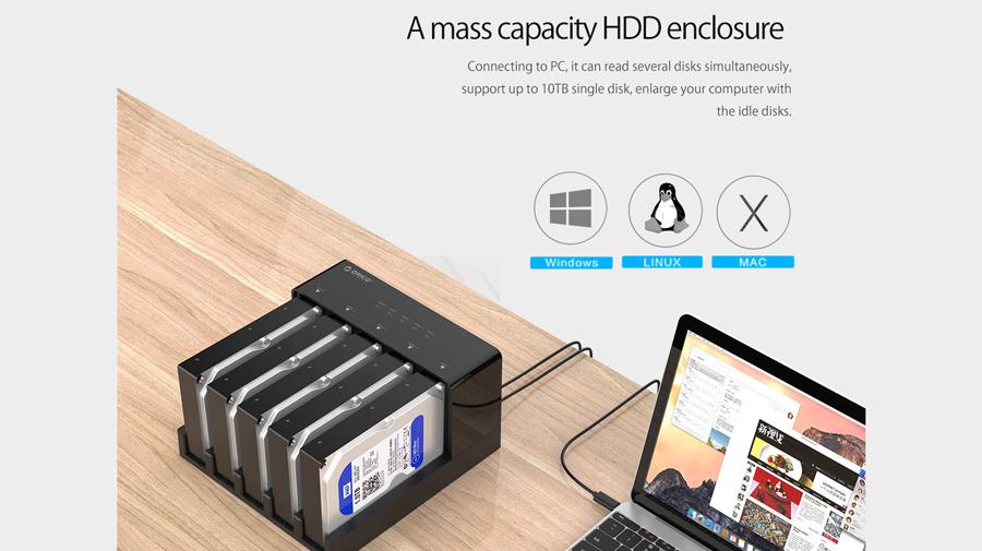 قاب هارد درایو 2.5/3.5 اینچی با قابلیت تکثیر اوریکو Orico 6558US3-C Hard Drive Enclosure with Duplicator پشتیانی از ظرفیت بالای هارد