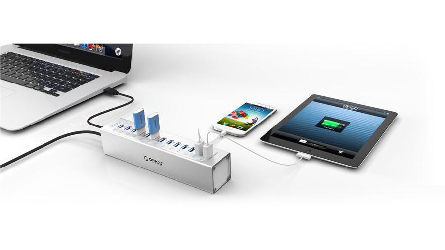 هاب آداپتور 13+2 پورت یو اس بی 3.0 اوریکو Orico A3H13-P2 13+2 Port USB3.0 Hub دارای 15 پورت