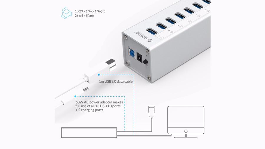 هاب آداپتور 13+2 پورت یو اس بی 3.0 اوریکو Orico A3H13-P2 13+2 Port USB3.0 Hub دارای کابل برق جداگانه
