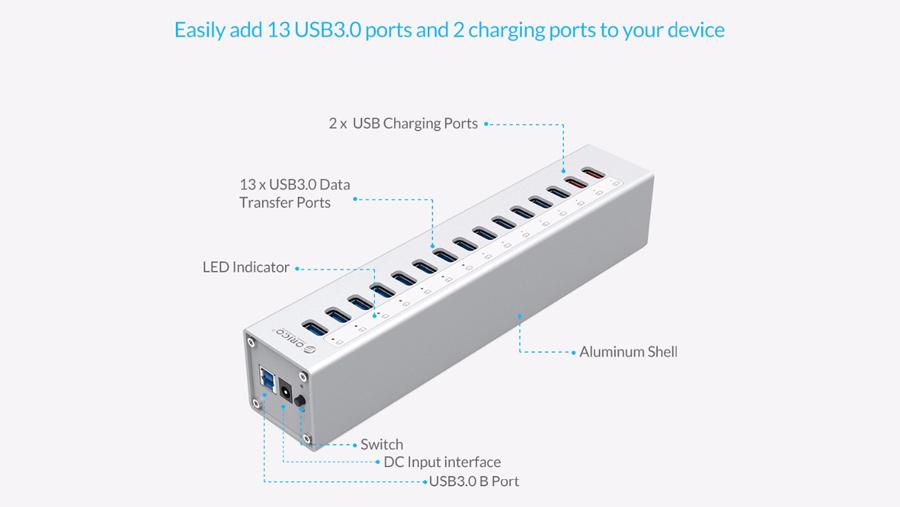 هاب آداپتور 13+2 پورت یو اس بی 3.0 اوریکو Orico A3H13-P2 13+2 Port USB3.0 Hub دارای طراحی کلاسیک و باکیفیت