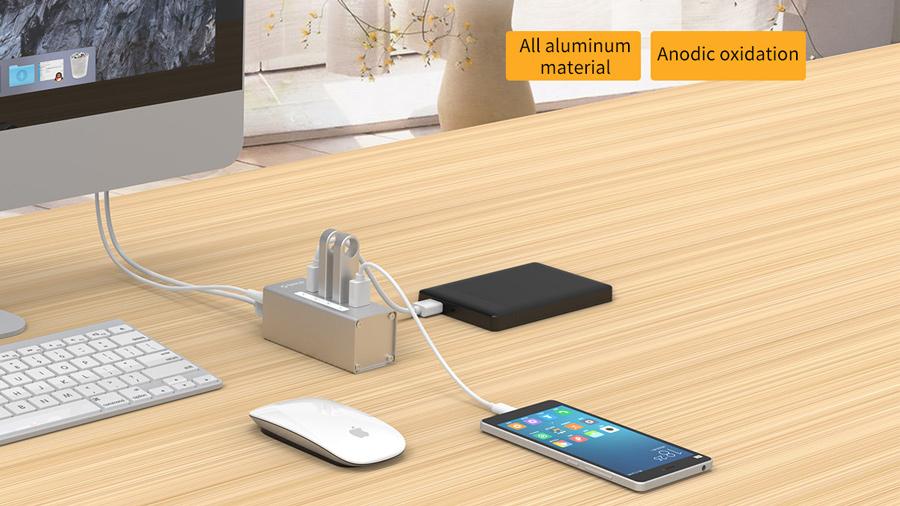 هاب آداپتور یو اس بی 4 پورت اوریکو Orico A3H4-U3 USB3.0 Hub دارای قابلیت شارژ دستگاه