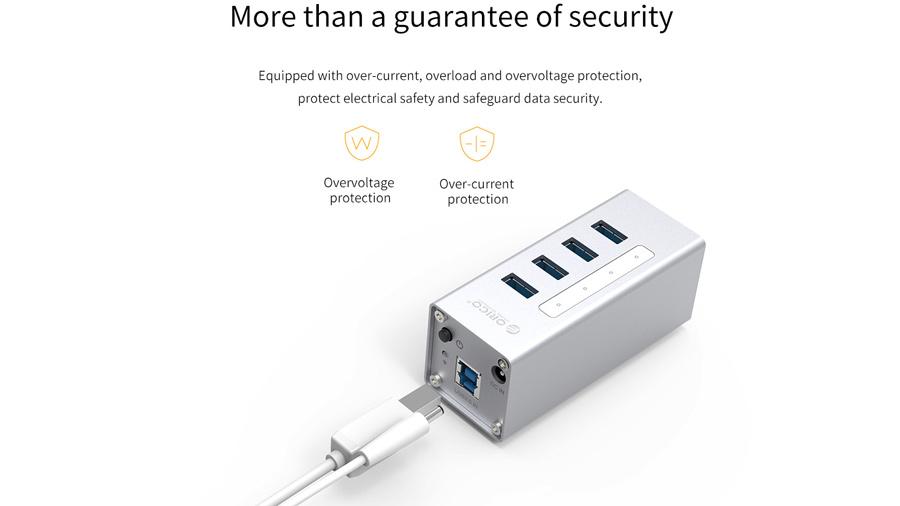 هاب آداپتور یو اس بی 4 پورت اوریکو Orico A3H4-U3 USB3.0 Hub دارای انواع محافظ های الکتریکی