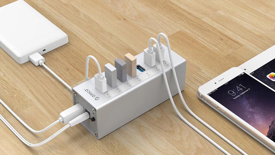 هاب آداپتور یو اس بی 7 پورت اوریکو Orico A3H7 USB3.0 Hub دارای کیفیت ساخت بالا