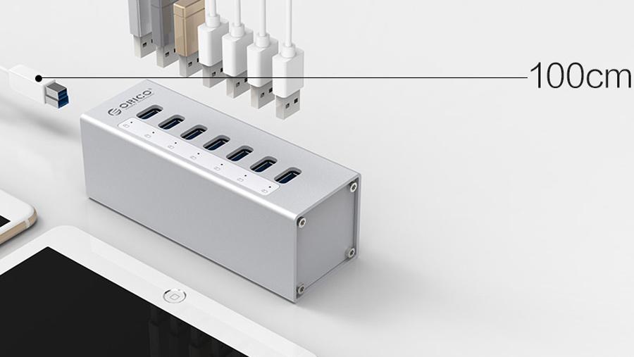 هاب آداپتور یو اس بی 7 پورت اوریکو Orico A3H7 USB3.0 Hub دارای کابل جداگانه