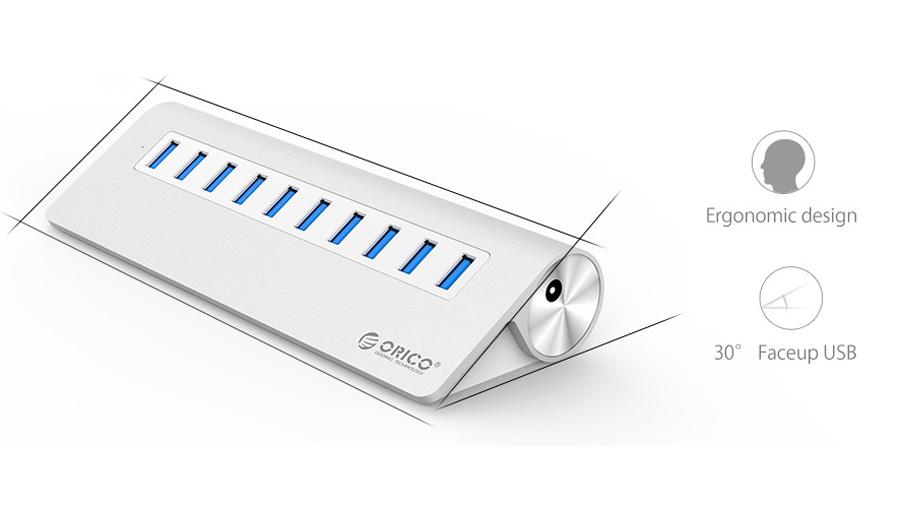 هاب یو اس بی 10 پورت اوریکو Orico M3H10 10 Port USB 3.0 Hub دارای طراحی ارگونومیک