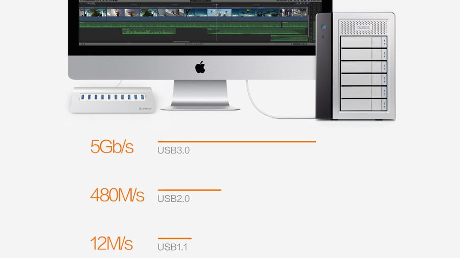 هاب یو اس بی 10 پورت اوریکو Orico M3H10 10 Port USB 3.0 Hub دارای سرعت بالای انتقال داده