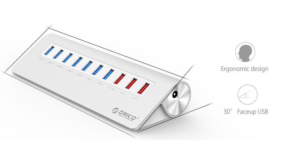 هاب 7+3 پورت یو اس بی اوریکو Orico M3H73P 7+3Port USB 3.0 Hub دارای طراحی خاص