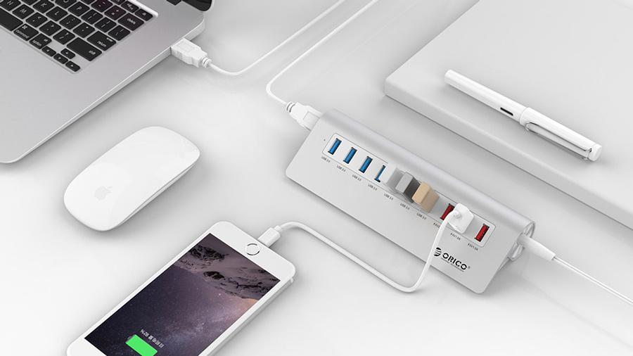 هاب 7+3 پورت یو اس بی اوریکو Orico M3H73P 7+3Port USB 3.0 Hub دارای قابلیت شارژ