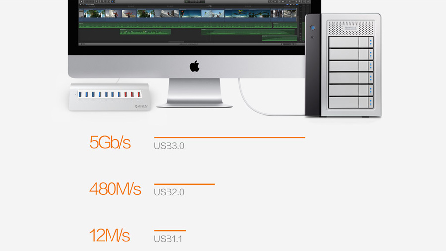 هاب 7+3 پورت یو اس بی اوریکو Orico M3H73P 7+3Port USB 3.0 Hub دارای سرعت انتقال داده بالا