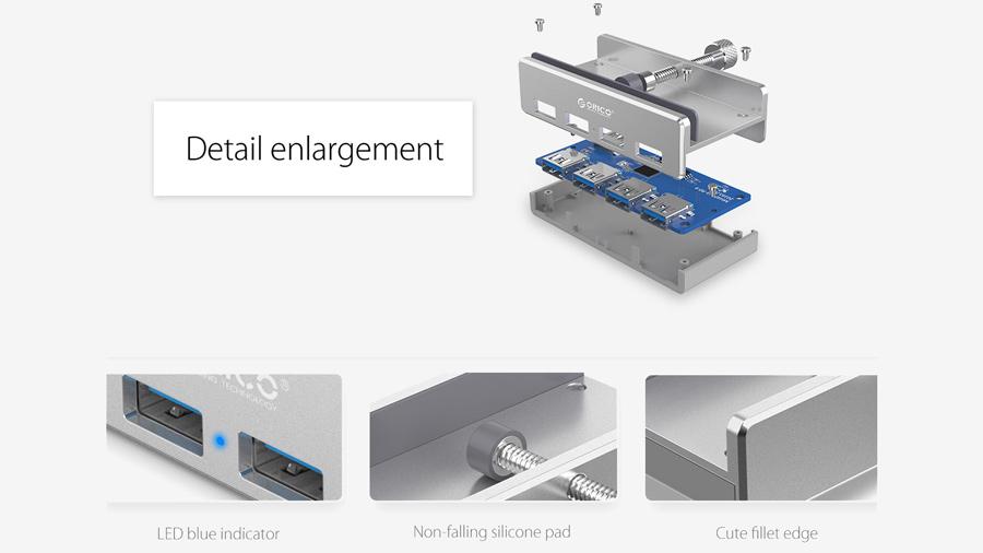 هاب یو اس بی 4 پورت اوریکو Orico MH4PU 4 Port USB 3.0 Hub دارای کیفیت ساخت بالا