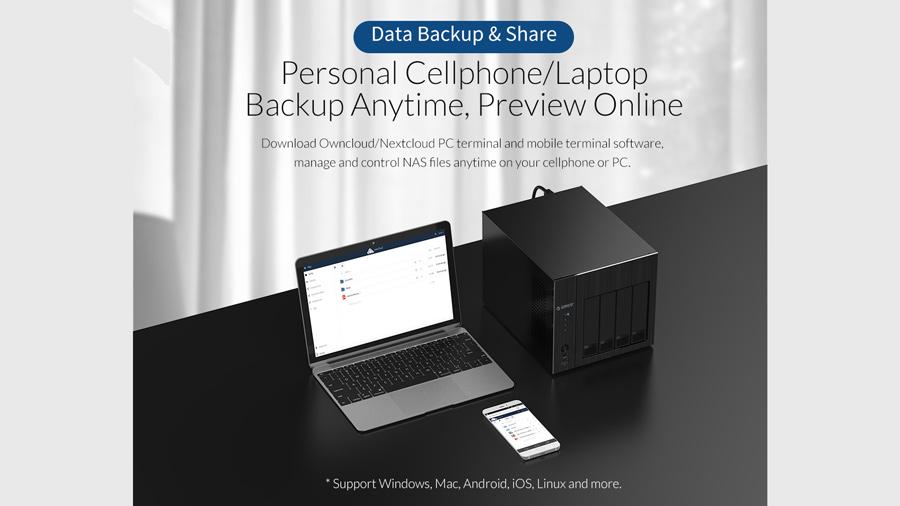 ذخیره ساز تحت شبکه 4Bay با 4گیگ رم اوریکو Orico OS400 قابلیت پشتیبان گیری از داده های موبایل و لپتاپ