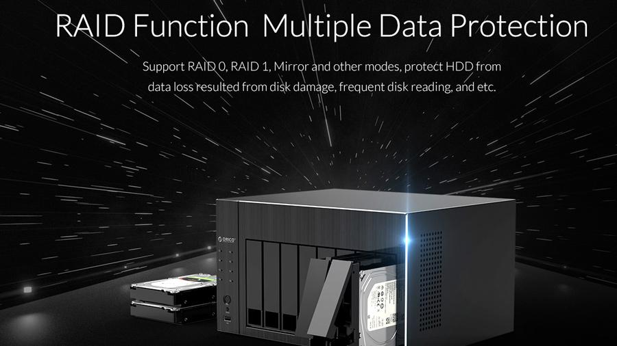 عملکرد چندگانه Raid در ذخیره ساز تحت شبکه 4Bay با 4گیگ رم اوریکو Orico OS400