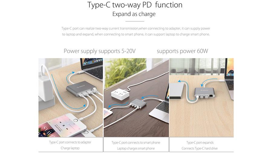 هاب چندکاره تایپ سی اوریکو Orico RCR2A Type-C Hub دارای خروجی دو طرفه شارژ سریع