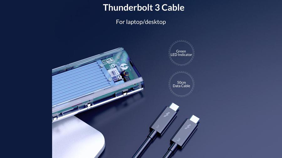 قاب اس اس دی تاندربولت 3 اوریکو Orico TCM2T3-G40 NVMe M.2 دارای کابل تاندربولت 3 تایپ سی