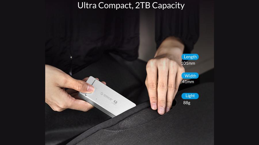 قاب اس اس دی تاندربولت 3 اوریکو Orico TFM2T3-G40 NVMe M.2 Enclosure  دارای ابعاد جمع و جور