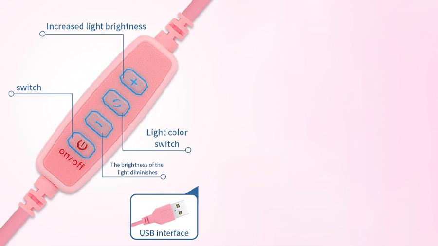 رینگ لایت رومیزی مخصوص آرایش توتو Totu Live Makeup Multipurpose Desk Lamp G3 دارای کنترل