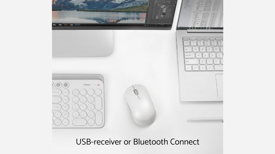 موس بیسیم سایلنت شیائومی Xiaomi Mi Silent Mouse WXSMSBMW02 دارای دو حالت اتصال