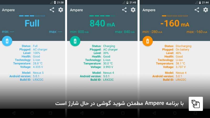 با برنامه Ampere مطمئن شوید گوشی در حال شارژ است